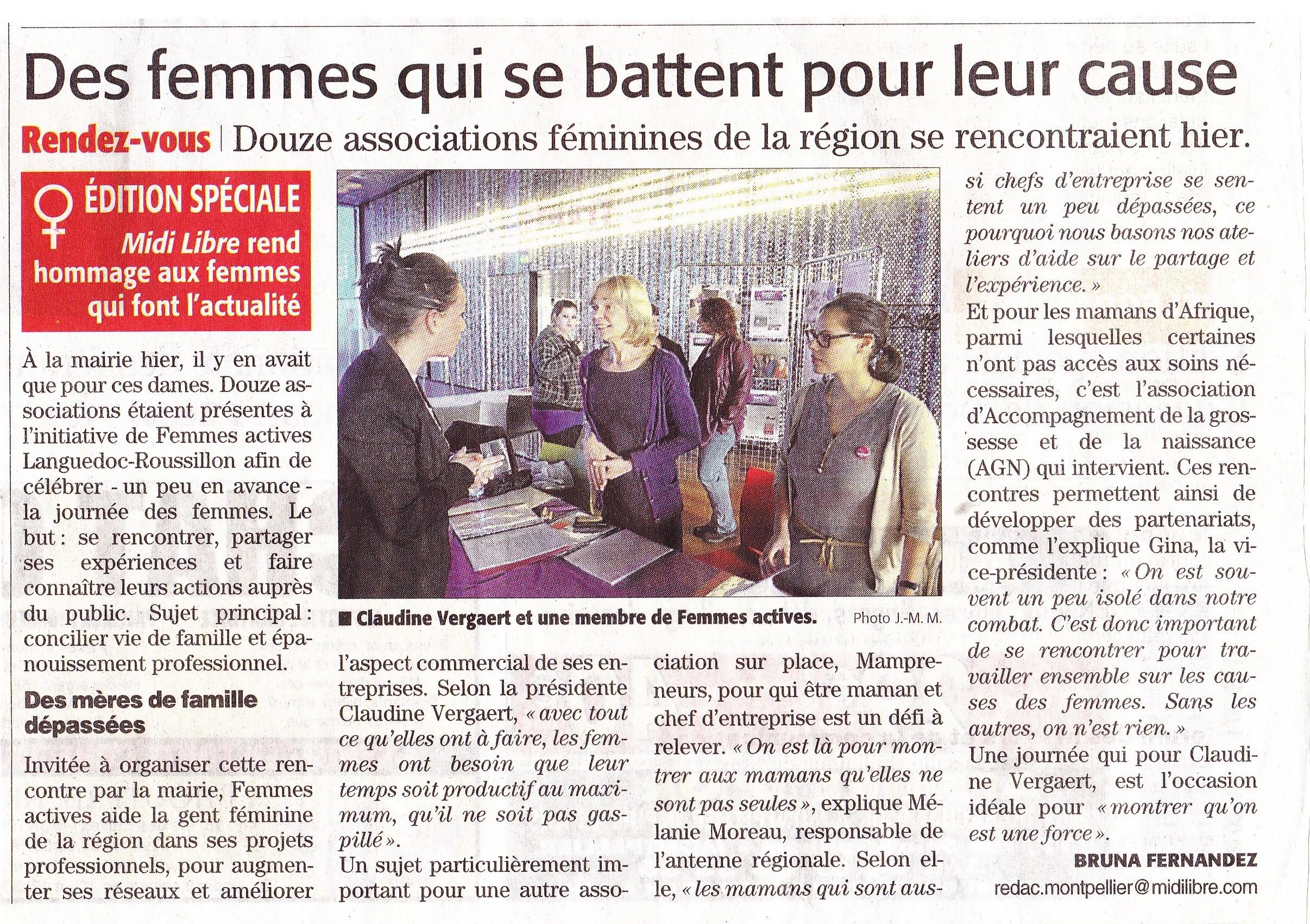 Articles Midi Libre 8 mars 2013 - Journée du 7 mars 2013 à la Mairie de Montpellier