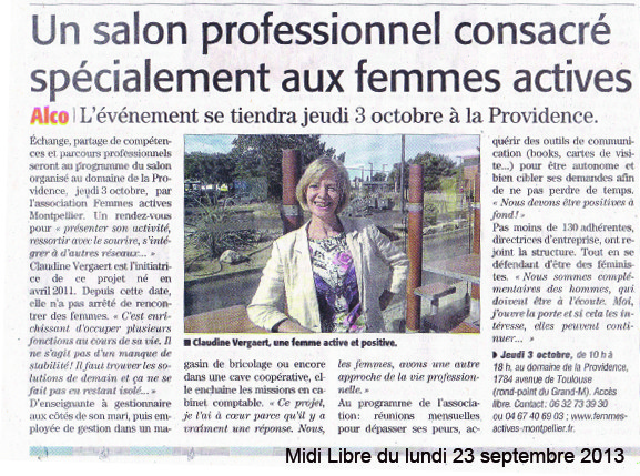 Midi Libre - 23 sept 2013 - Article Presse Association Femmes Actives LR - Montpellier