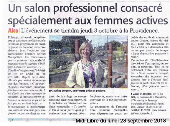 Midi Libre - 23 sept 2013 - Article Presse Association Femmes Actives LR - Montpellier