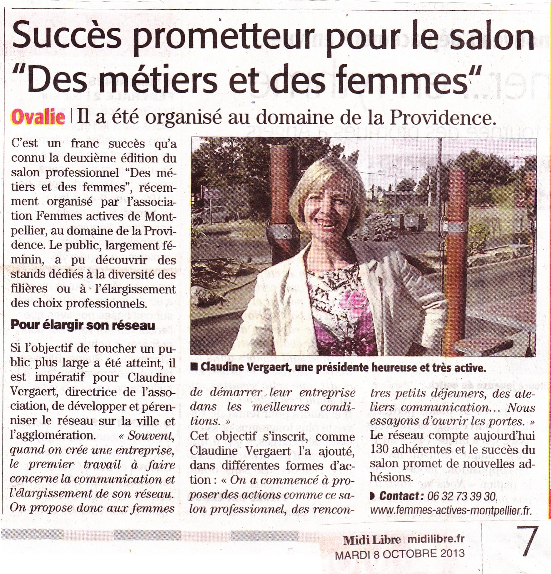 Midi Libre 8 octobre 2013 - salon professionnel Femmes Actives