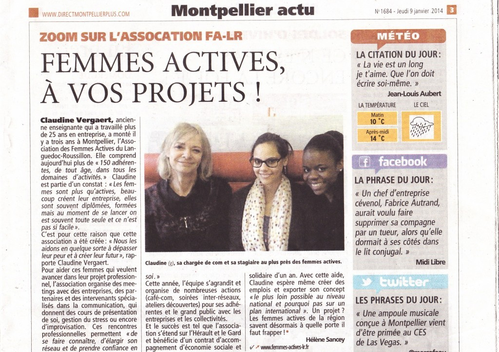 2014 - 9 janvier - Article direct Matin