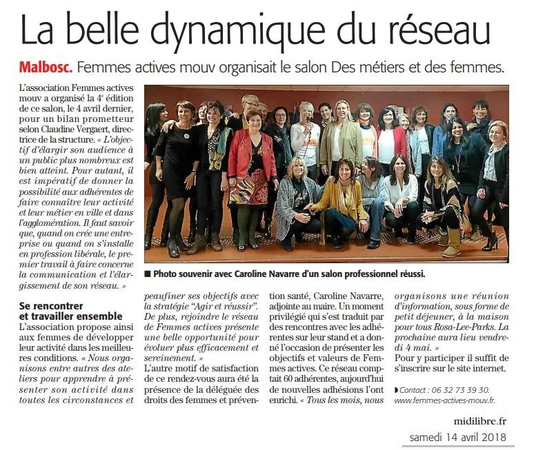 Midi Libre - 14 avril 2018 - article retour sur Salon Des Metiers et des Femmes