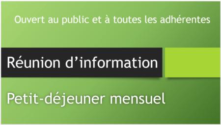 Réunion information - Petit déjeuner